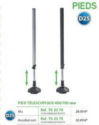 RIVE láb Pied télescopique D25 400 / 700 mm Alu; Noir