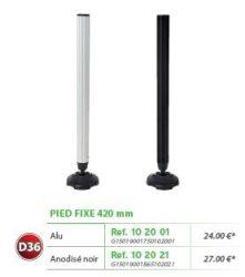 RIVE láb Pied fixe D36 420 mm Alu; 420 mm Noir