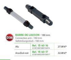 RIVE adapter Barre de liaison (non-Open) D36 160 mm - Alu; Noir