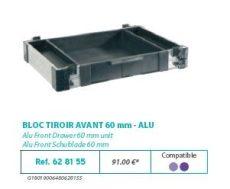 RIVE modul 628155 Bloc tiroir avant 60 F2 Alu