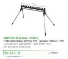 RIVE topset tartó 320135 Support kit 4 pieds 12 kits - o36 mm