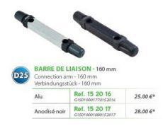 RIVE adapter Barre de liaison 40x30 entre axe D25 160 mm - Alu; Noir