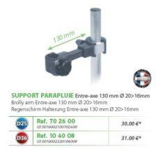RIVE adapter Support parapluie entre axe 130mm D25; D36