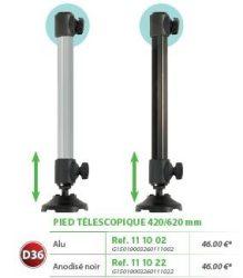 RIVE láb felső ütközővel, OPEN Pied D36 Tele 420/620mm Alu; Noir