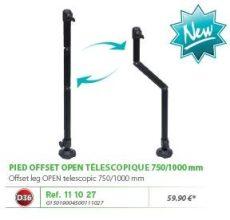 RIVE láb felső ütközővel, 111027 Pied Off Set D36 Open Tele 750/1000mm Noir