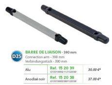 RIVE adapter Barre de liaison 40x30 entre axe D25 390 mm - Alu; Noir